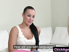 Huge-chested client tongues..